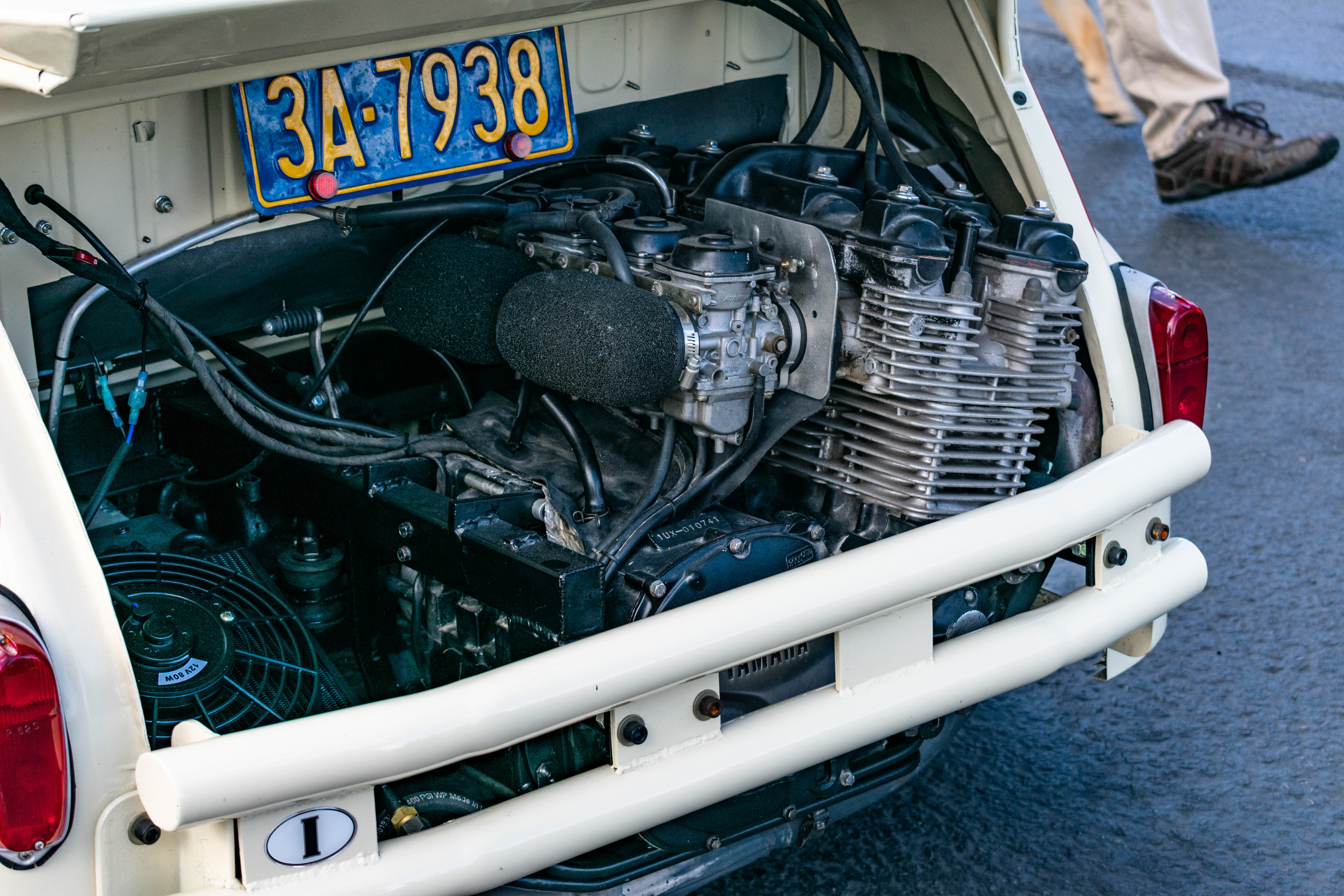 Yamaha Powered Fiat 600 Time Attack Hack Engine Wiring Looking At The Interior Of Car Name Game Seems To Be Simplicity A Pair Racing Buckets Simple Door Panels And Roll Cage Speak Volumes